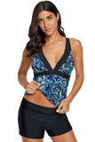Sexy V Neck Floral Tankini Top - Swim Tops - Sunny Angela