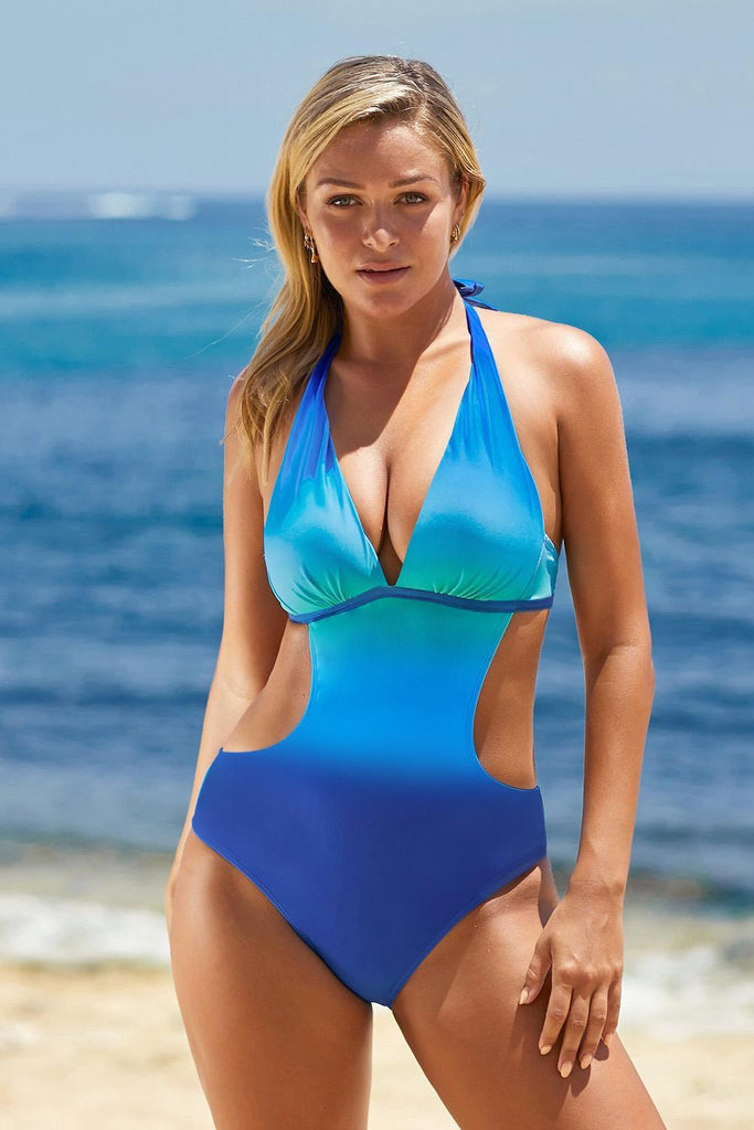 Sky Blue Ombre Color Block Halter Monokini - One-Piece Swimwear - Sunny Angela
