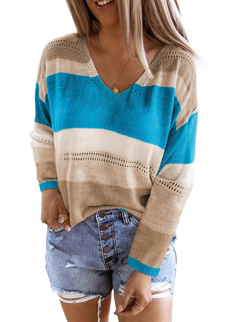 Sky Blue V Neck Colorblock Knitted Sweater with Hollow-out - XL - Sweaters & Cardigans - Sunny Angela