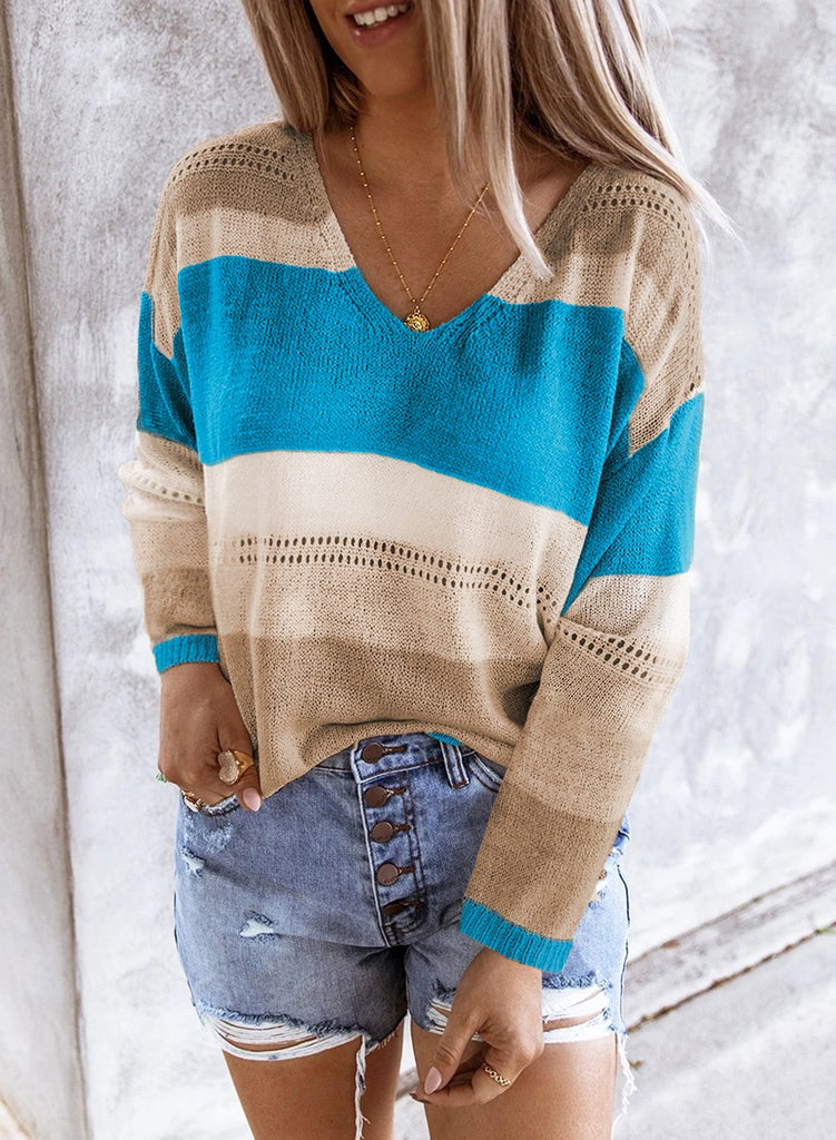Sky Blue V Neck Colorblock Knitted Sweater with Hollow-out - L - Sweaters & Cardigans - Sunny Angela