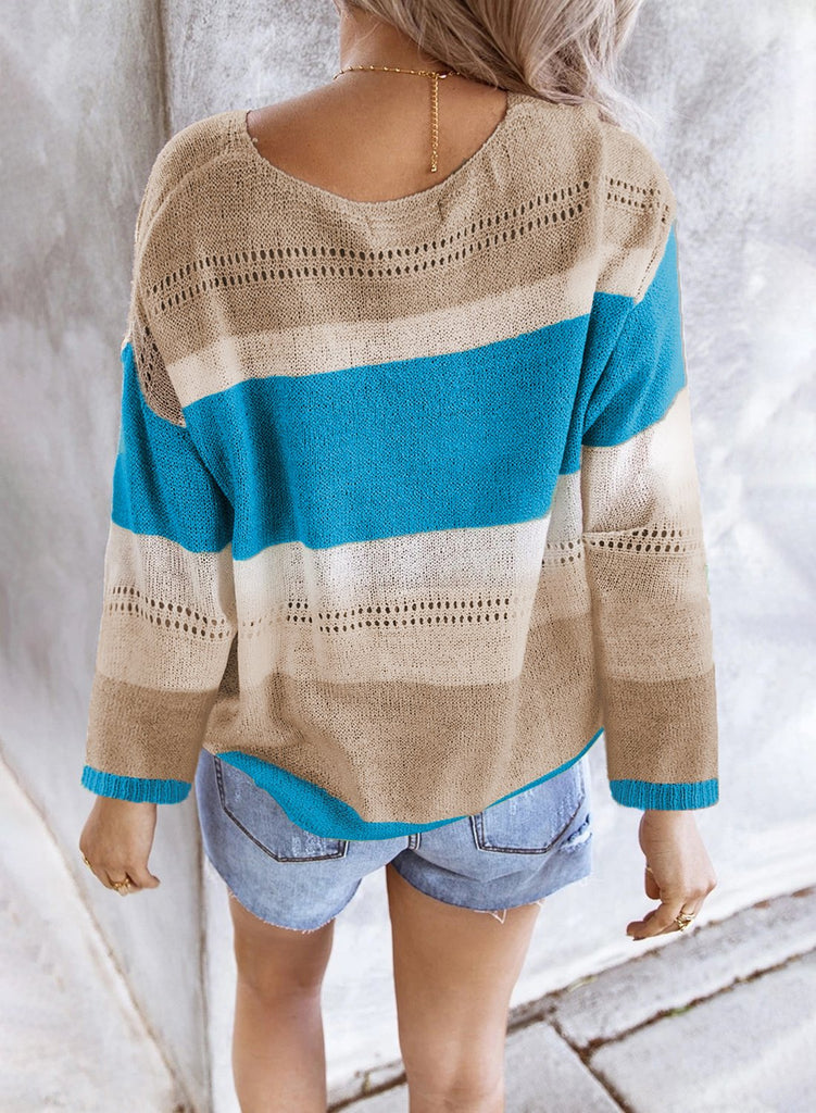 Sky Blue V Neck Colorblock Knitted Sweater with Hollow-out - M - Sweaters & Cardigans - Sunny Angela