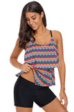 Tribal Print Ruffled Layered Tankini Top - Swim Tops - Sunny Angela
