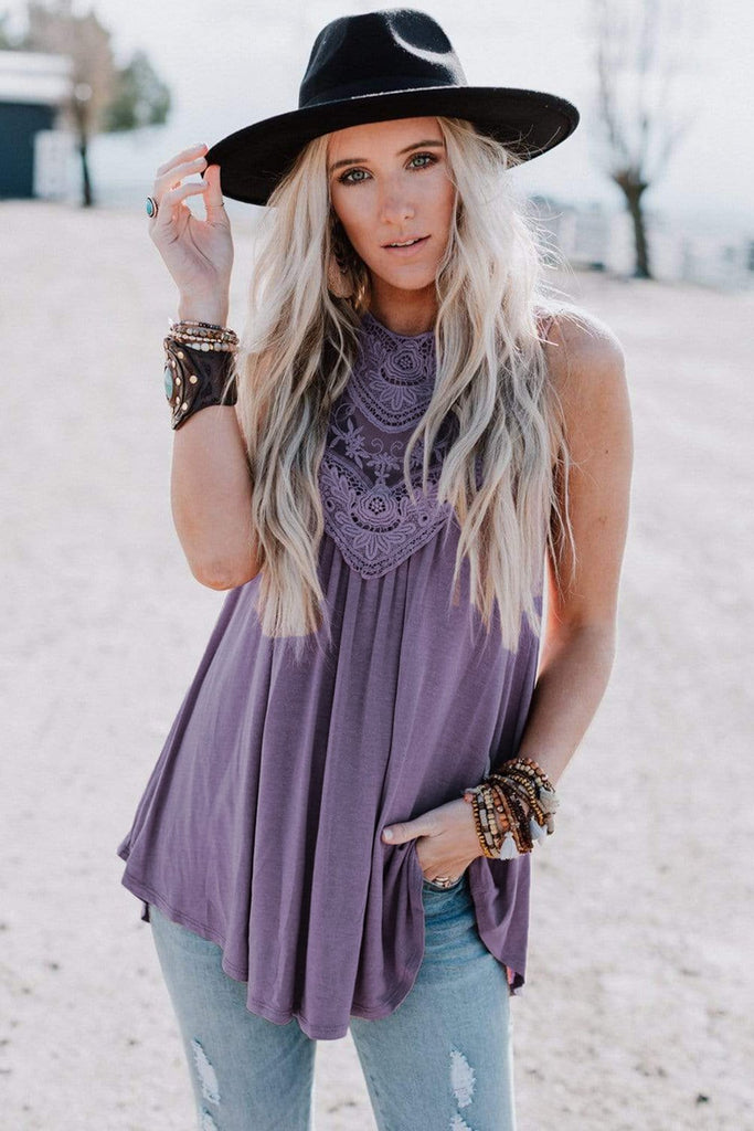 Violet Lace Embroidered Sleeveless Top - Tank Tops - Sunny Angela