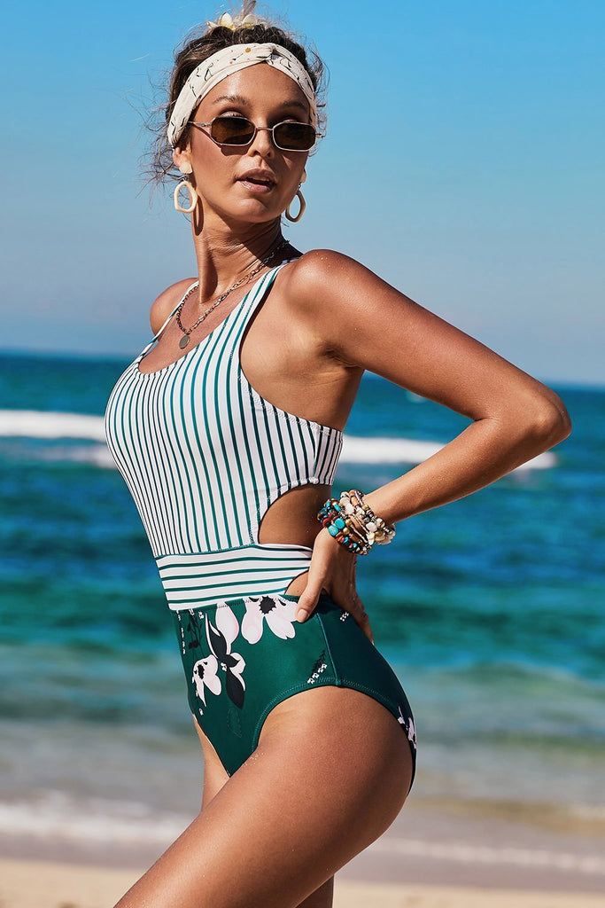 White Printed Zipped Racerback Maillot - One-Piece Swimwear - Sunny Angela
