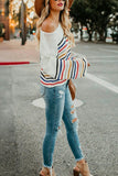 White Rainbow Stripe Pattern Sweater - L - Sweaters & Cardigans - Sunny Angela