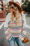 White Rainbow Stripe Pattern Sweater - S - Sweaters & Cardigans - Sunny Angela