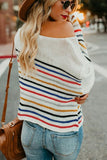 White Rainbow Stripe Pattern Sweater - M - Sweaters & Cardigans - Sunny Angela