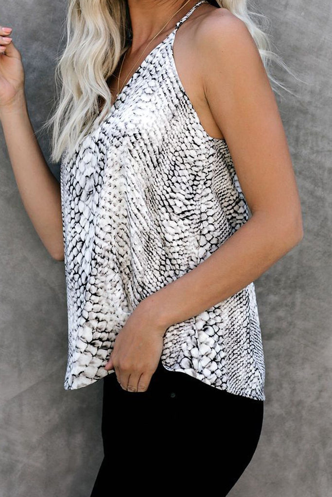 White Snake Printed Racerback Tank Top - Tops - Sunny Angela