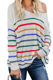 White Striped Knit Sweater - Sweaters & Cardigans - Sunny Angela