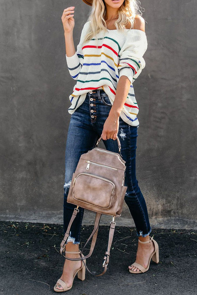 White Striped Knit Sweater - L - Sweaters & Cardigans - Sunny Angela