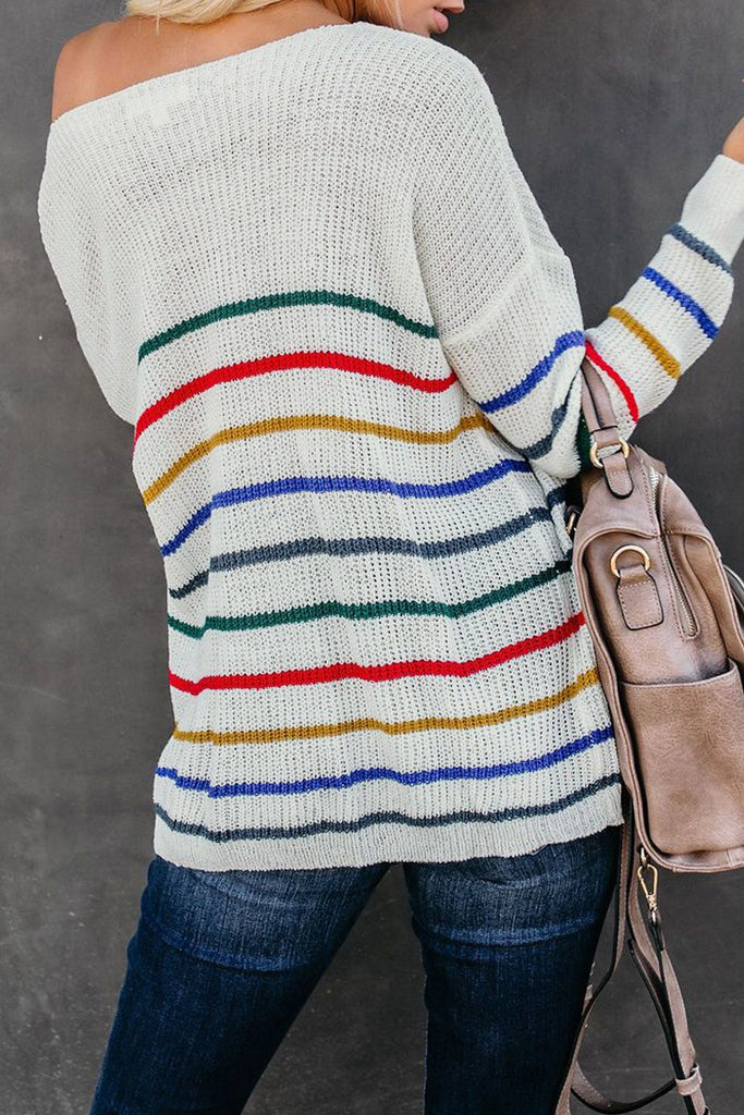 White Striped Knit Sweater - M - Sweaters & Cardigans - Sunny Angela