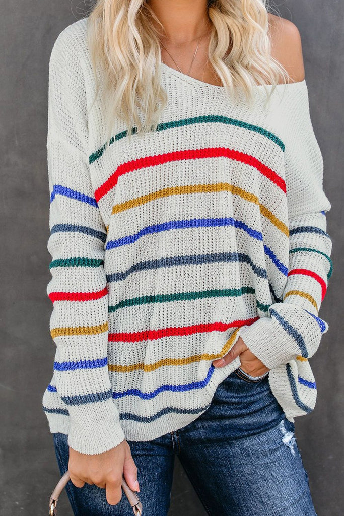 White Striped Knit Sweater - S - Sweaters & Cardigans - Sunny Angela