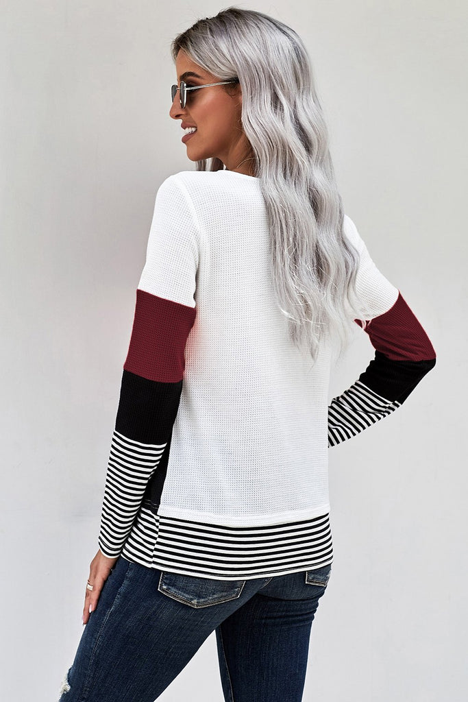 Wine Stylish Colorblock Splicing Stripes Top - M - Long Sleeve Tops - Sunny Angela