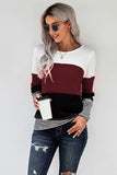 Wine Stylish Colorblock Splicing Stripes Top - S - Long Sleeve Tops - Sunny Angela