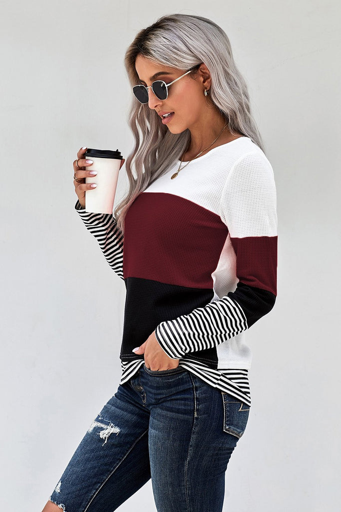 Wine Stylish Colorblock Splicing Stripes Top - L - Long Sleeve Tops - Sunny Angela