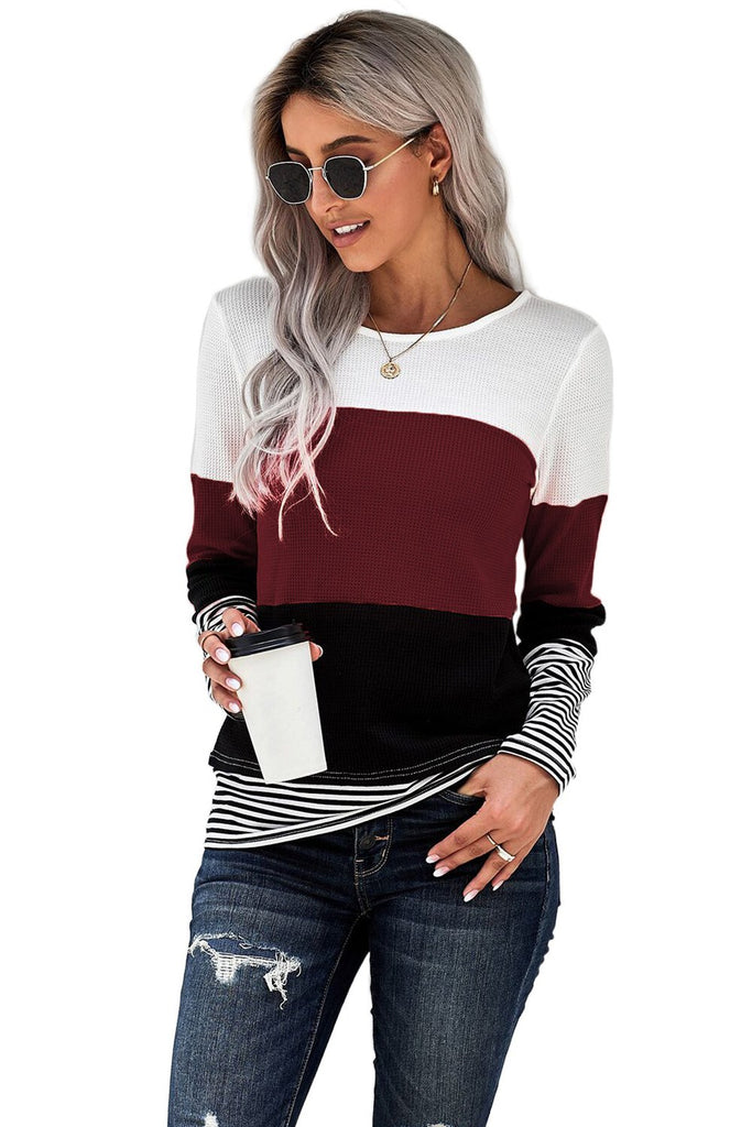 Wine Stylish Colorblock Splicing Stripes Top - XL - Long Sleeve Tops - Sunny Angela