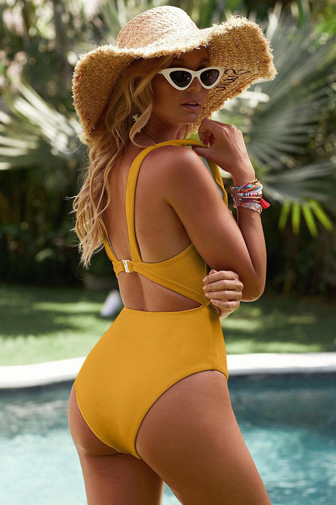 Yellow Cut out One-piece Swimsuit - One-Piece Swimwear - Sunny Angela