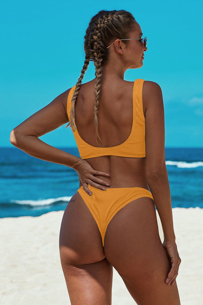 Yellow Knotted Two-piece Bikini Swimsuit - Bikinis - Sunny Angela