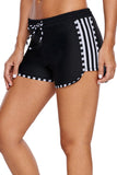 Zebra Striped Detail Black Boxer Short Swim Bottom - Bottoms - Sunny Angela