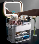 Load image into Gallery viewer, LED light makeup storage box&mirror