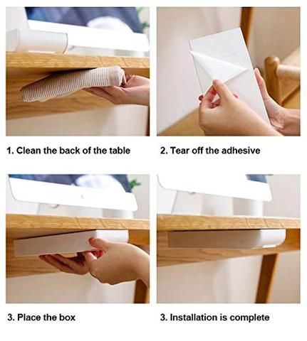 Desk Organizer | Space Saving Hidden Paste Storage Drawer - Installation Instructions