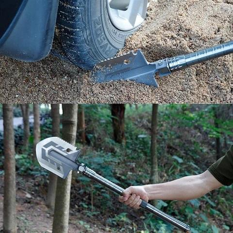 23-in-1 Multipurpose Tactical Shovel - Picture Of shovel digging out tire stuck in sand