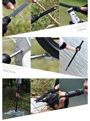 23-in-1 Multipurpose Tactical Shovel - Picture Of Various functions of the tactical shovel