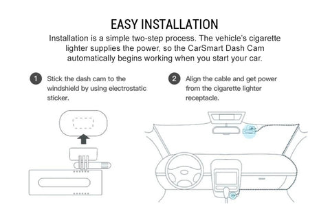 CarSmart Night Vision Dash Cam Easy Installation Instructions