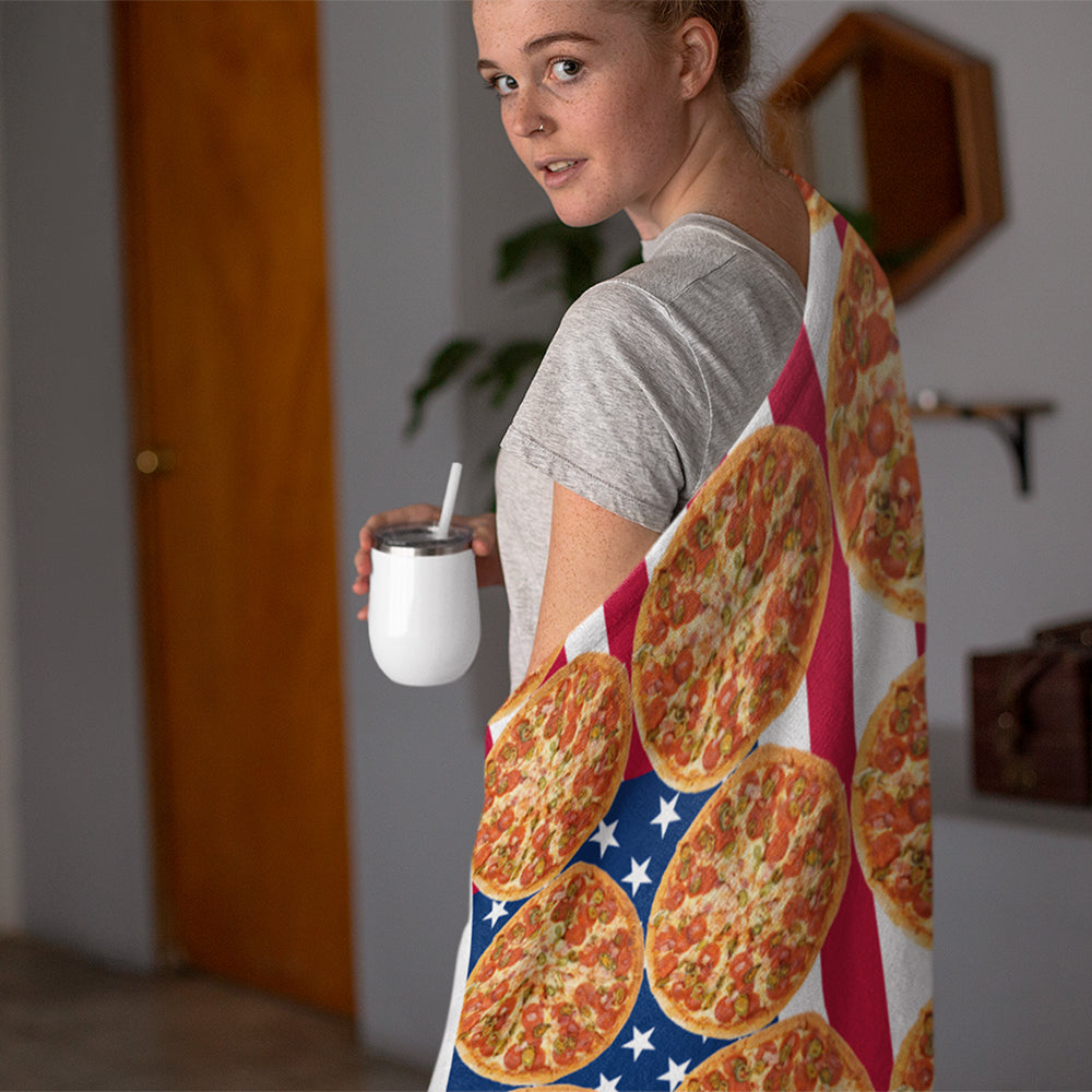 "The Original American Flag Pizza Blanket | Sherpa Fleece | 50""x60"""