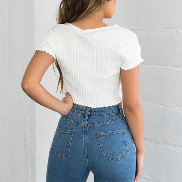 Sexy V-Neck Short Sleeve Ribbed Button-Up Crop Top | Women's Fashion