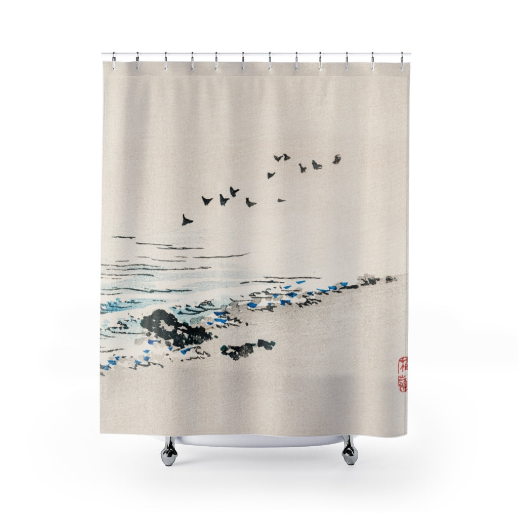Japanese Beach Scenery Shower Curtain | Japanese Art | Boho | Unique Gift Idea | Shower Decor | Bathroom Decor | Bath Curtain | 74x71 Inches