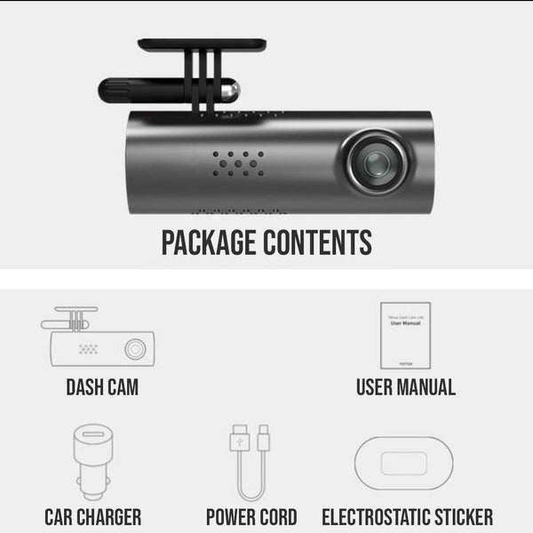 CarSmart Night Vision Dash Cam Package Contents
