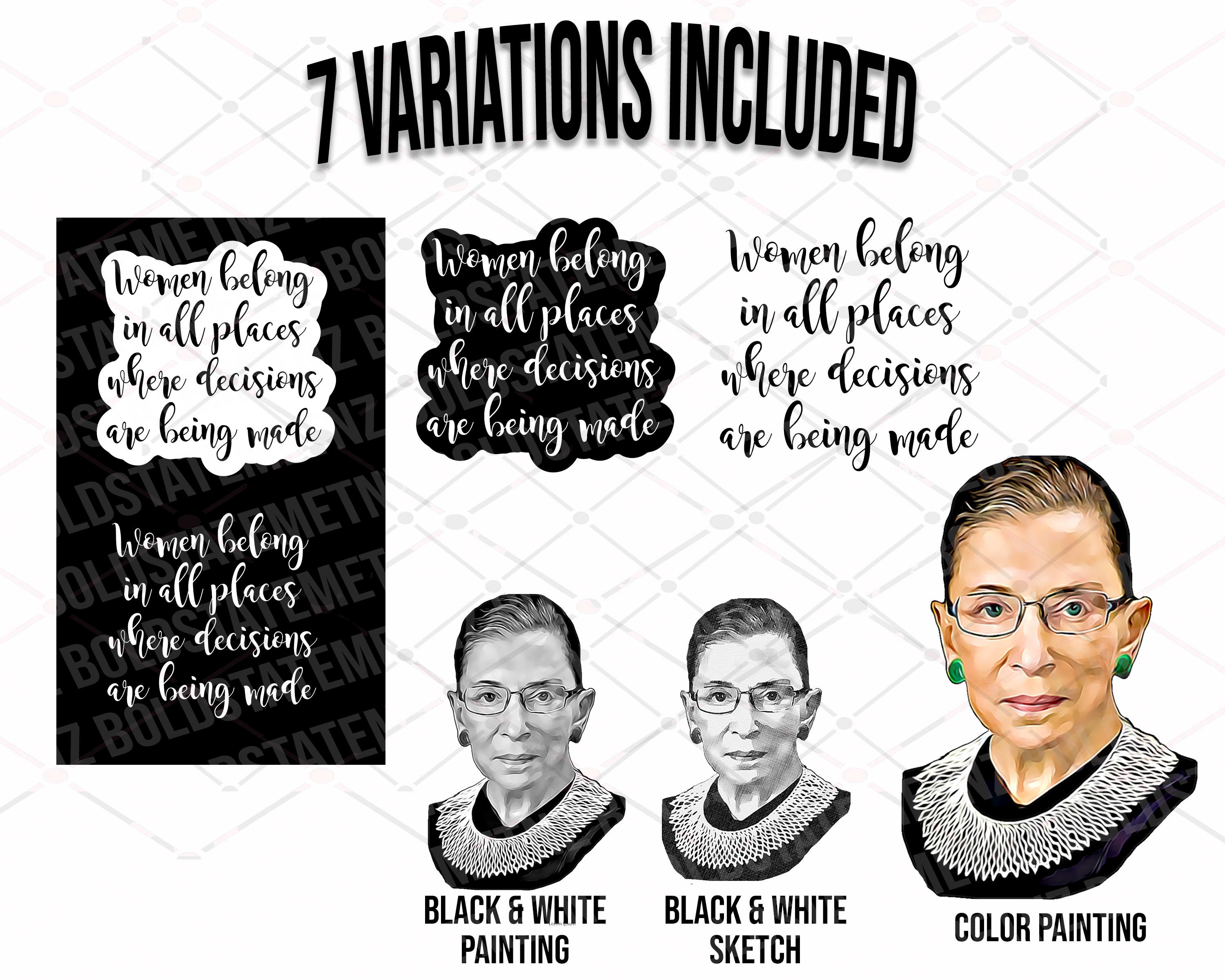RBG SVG | Women Belong in All Places Where Decisions Are Being Made SVG | Feminist Sayings | Ruth Bader Ginsburg | Protest | Dissent