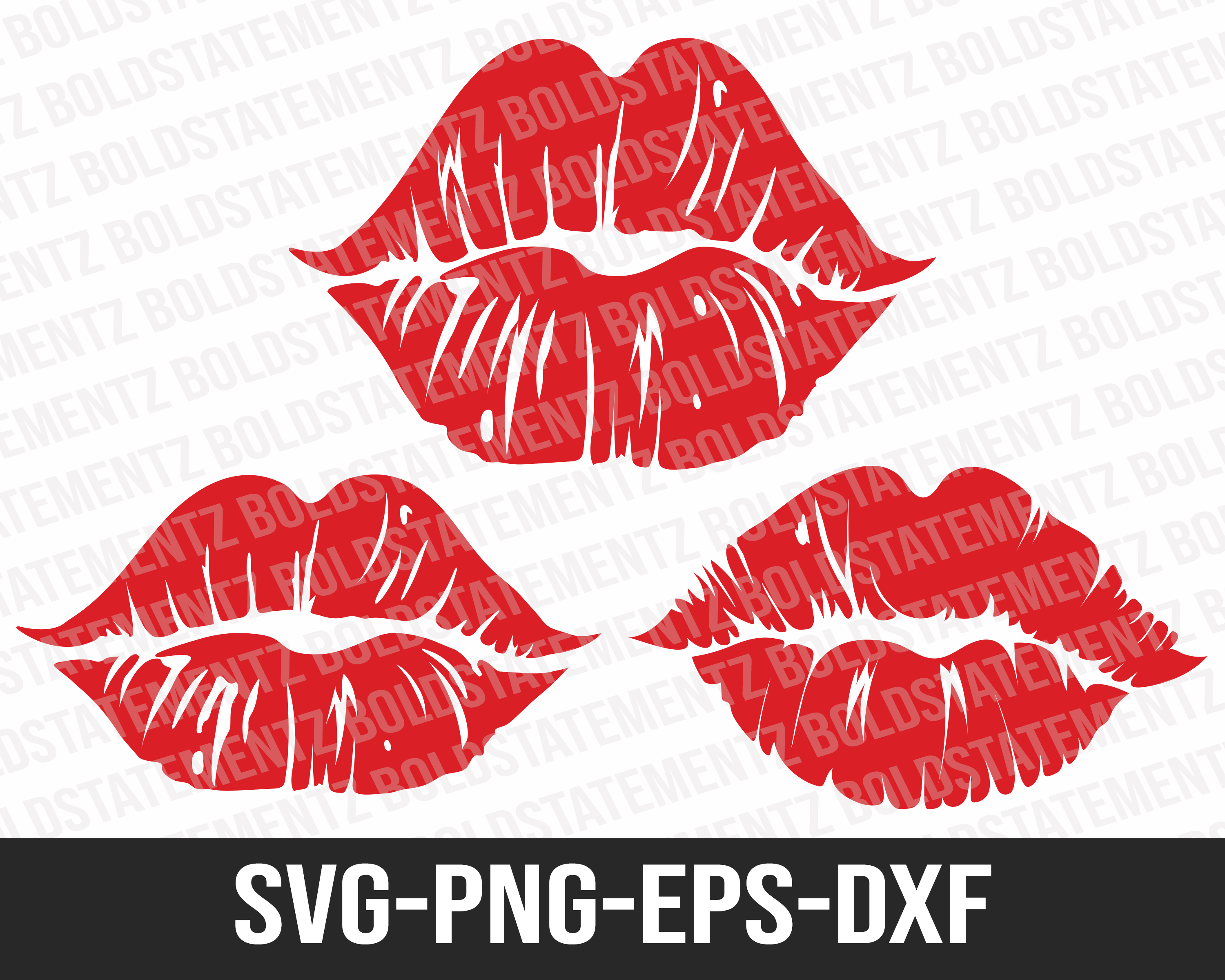 Lips Kiss SVG | Lips SVG | Cricut and Silhouette Cut Files | Valentines SVG | 3 Variations