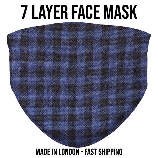 7 Layer Face Mask | Blue Buffalo Plaid Fashion | Adult and Kid's Sizes Available