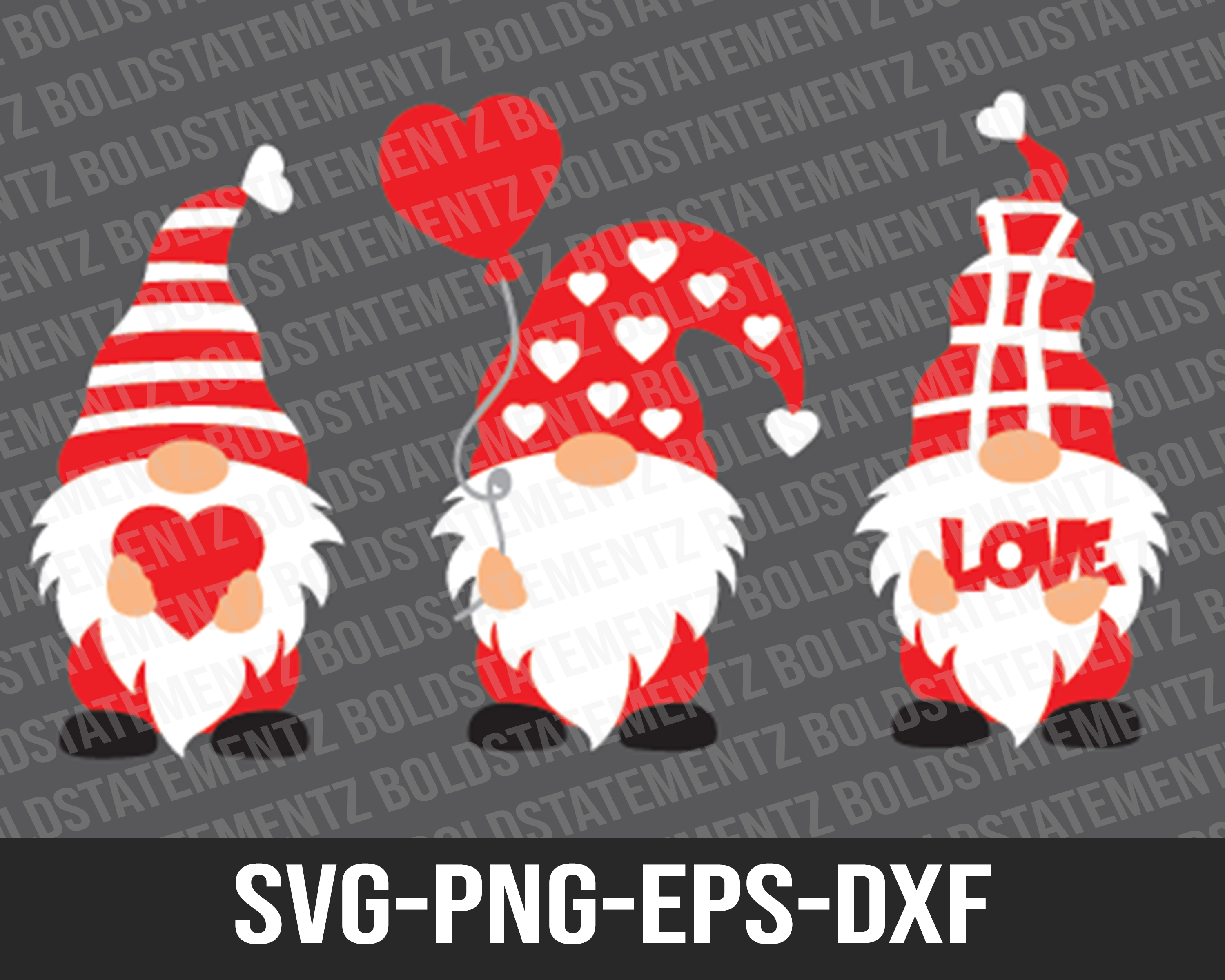 Cute Valentines Gnomes SVG | Valentines SVG | Gnomes SVG | SVG Cutting File for Cricut | SVG DXF PNG EPS