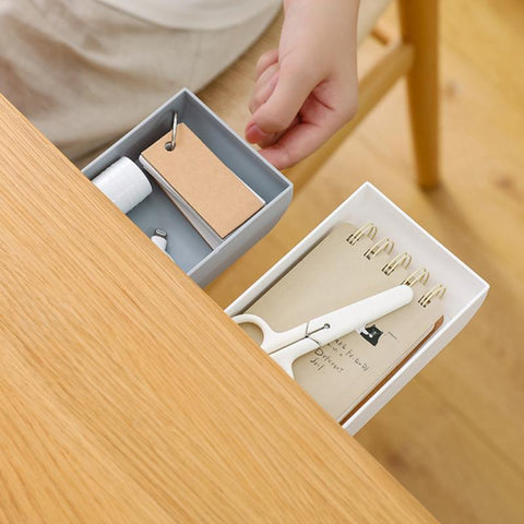 Desk Organizer | Space Saving Hidden Paste Storage Drawer - Items Stored in Gray and White Version