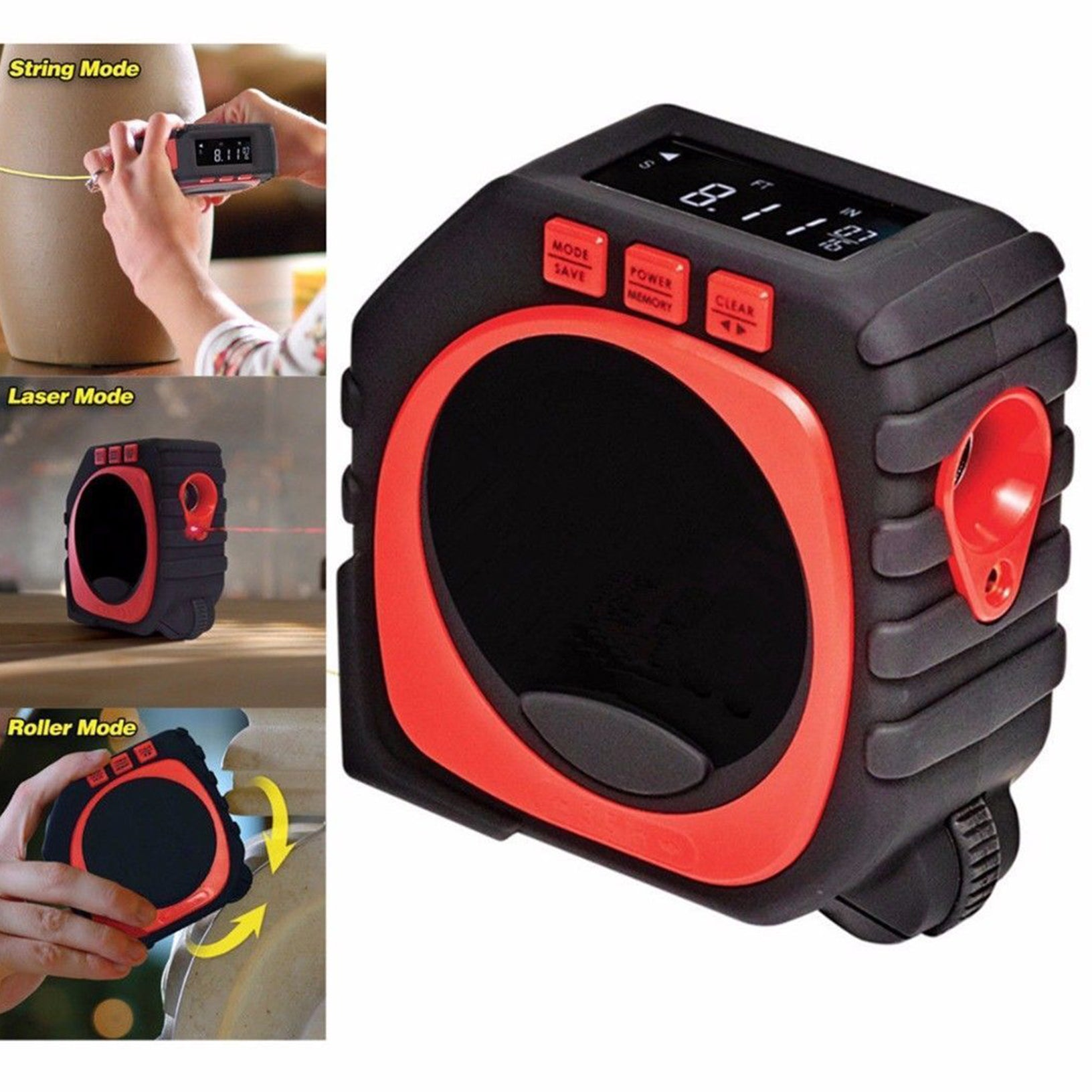 MasterMeasure 3-in-1 Digital Tape Measure - Laser Mode / Roller Mode / String Mode