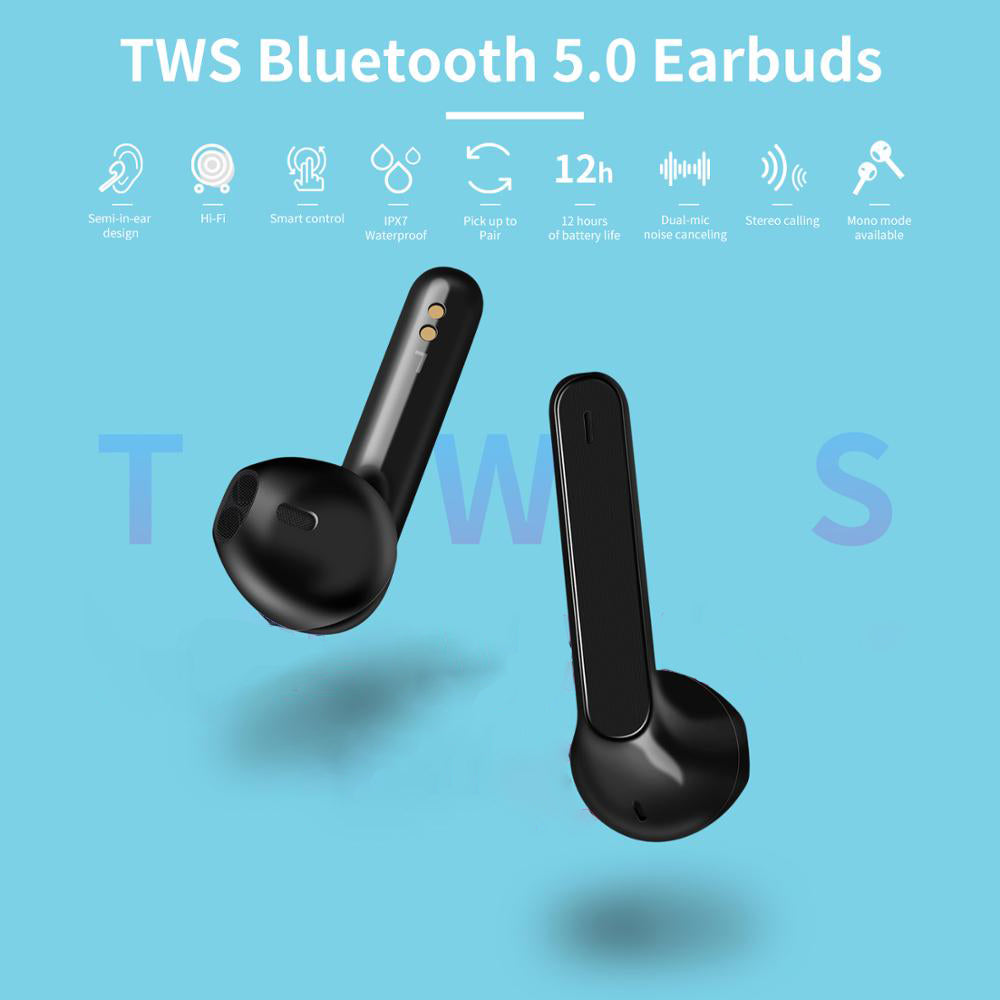 Touch Control iPhone Wireless Waterproof Bluetooth Earbuds With Microphone | Earphones and Headphones