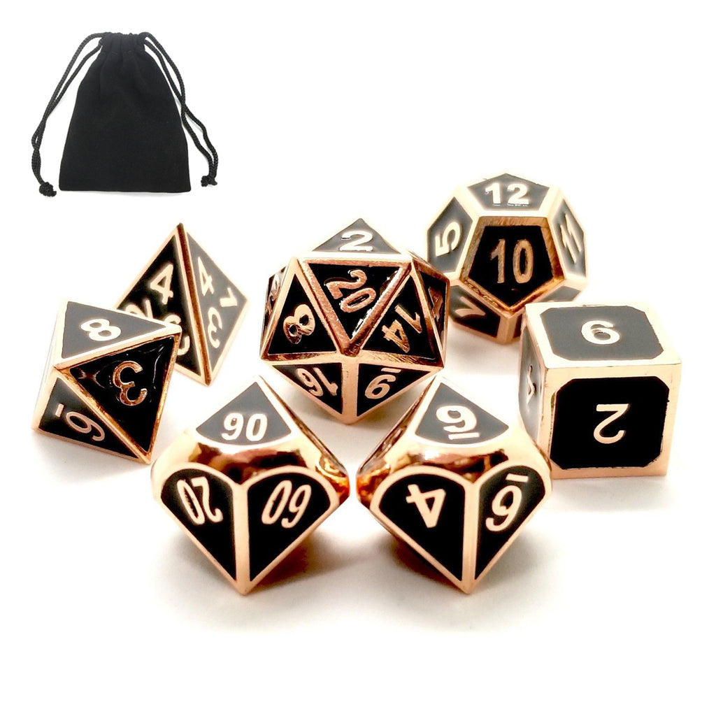 7Pcs Gold Dice Zinc Alloy Metal Polyhedral Role Multi-sided D4-D20 with Bags