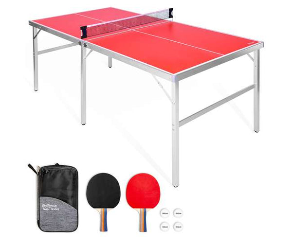 GoSports Mid-Size 6x3 Foot Indoor Outdoor Table Tennis Ping Pong Game Set