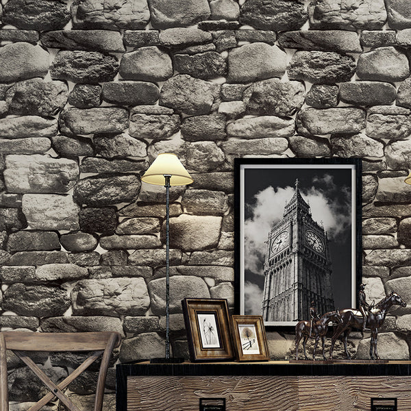 Simulation 3D Stone Retro Background Wall Paper | Living Room And Bedroom Decoration