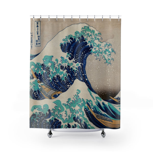 Extreme Waves Shower Curtain | Japanese Art | Boho | Unique Gift Ideas | Shower Decor | Bathroom Decor | Bath Curtain | 74x71 Inches