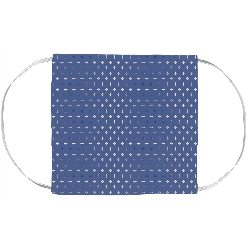 Face Mask Cover - Blue Pixie Cross Pattern (7x3.5 Inch)