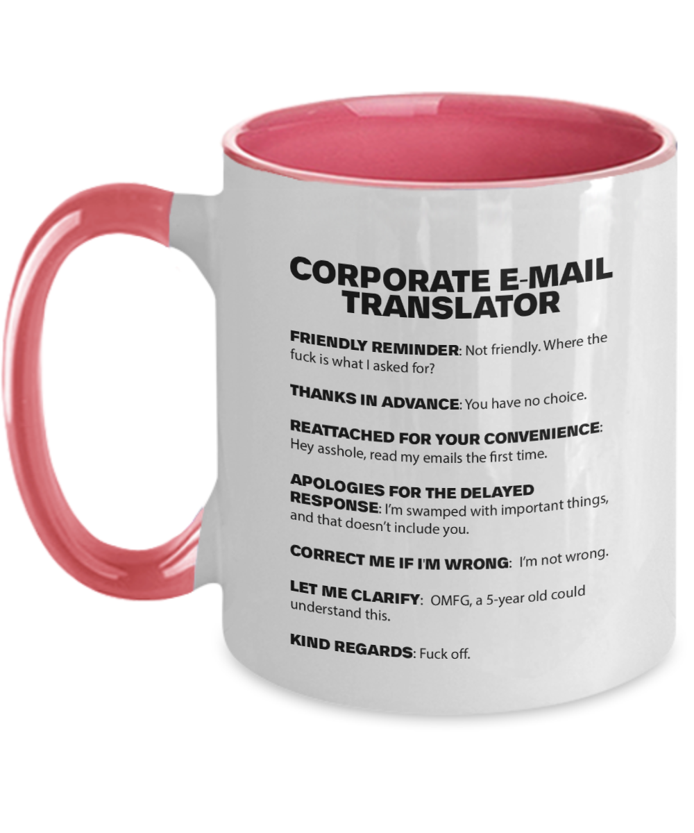 Corporate Email Translator Mug | Funny Work Mug | Co-Worker Gift | 11oz