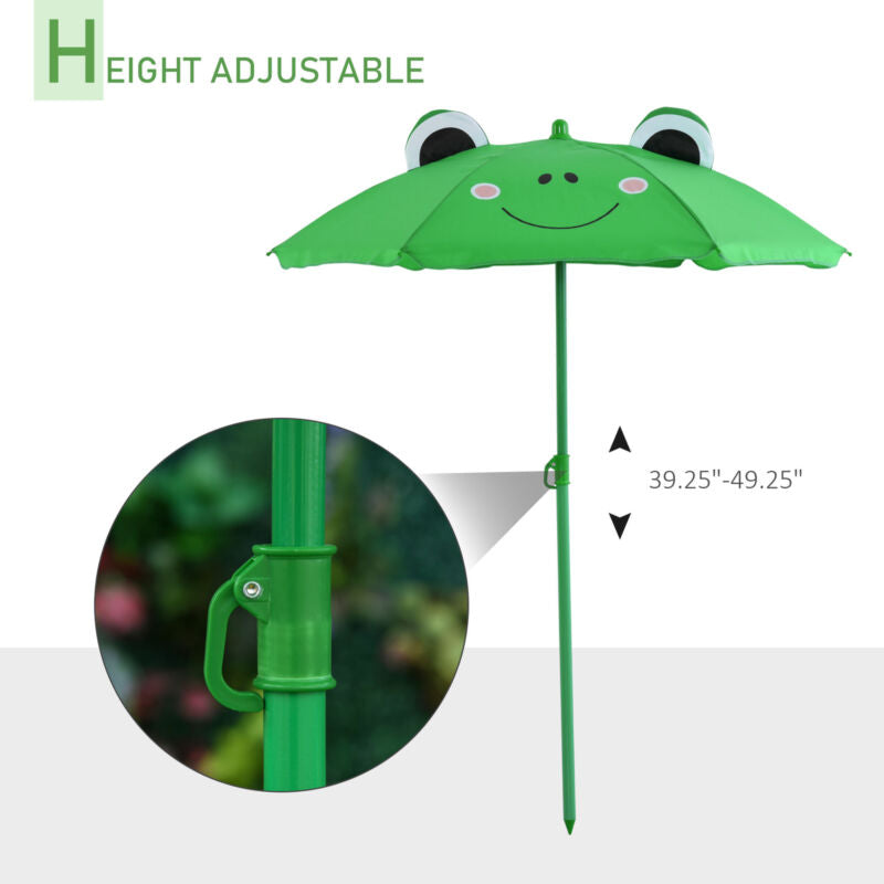 Cute Frog-Themed Kids Picnic Table and Chair Set Height Adjustable Umbrella
