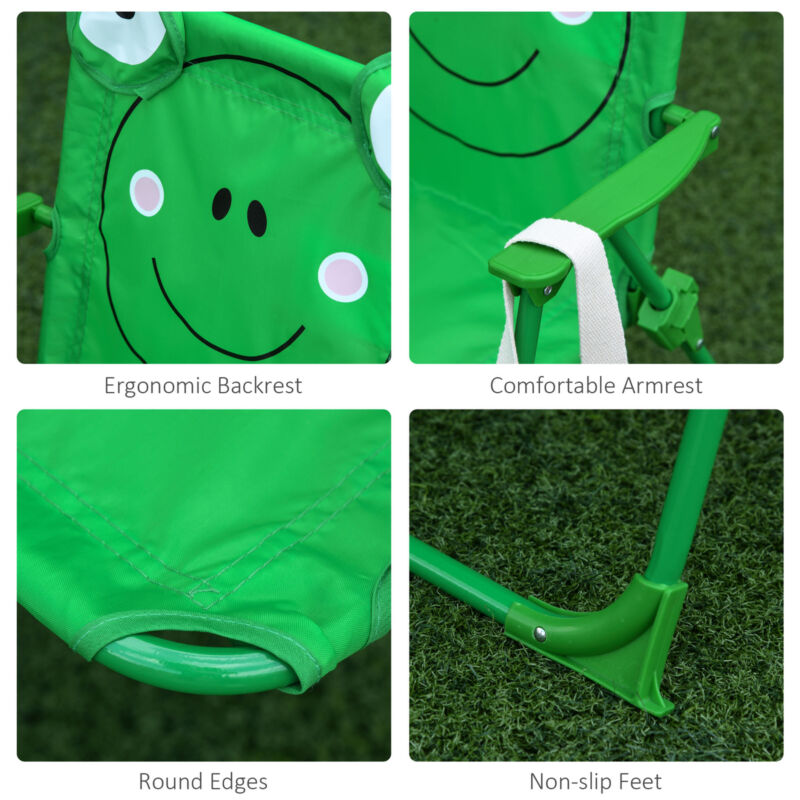 Cute Frog-Themed Kids Picnic Table and Chair Set Chair Features