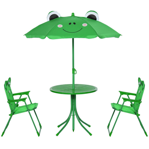 Cute Frog-Themed Kids Picnic Table and Chair Set Front View