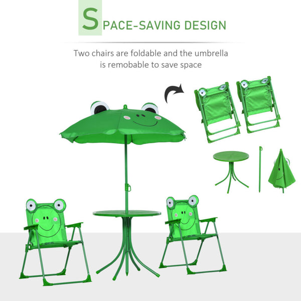 Cute Frog-Themed Kids Picnic Table and Chair Set Space Saving Design