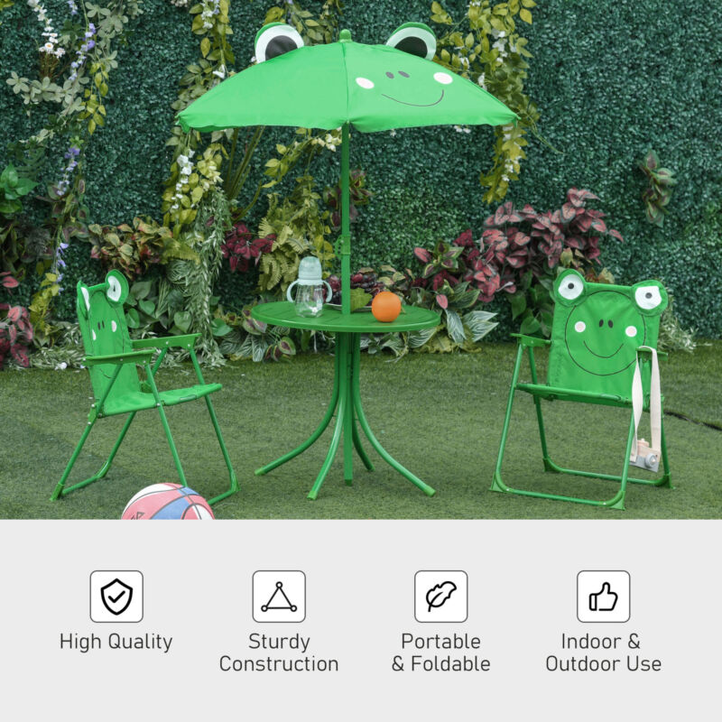 Cute Frog-Themed Kids Picnic Table and Chair Set Features